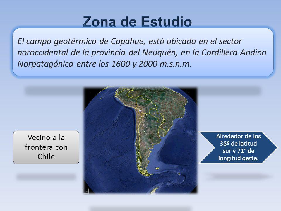 Alrededor de los 38º de latitud sur y 71° de longitud oeste. El campo geotérmico de Copahue, está ubicado en el sector noroccidental de la provincia d