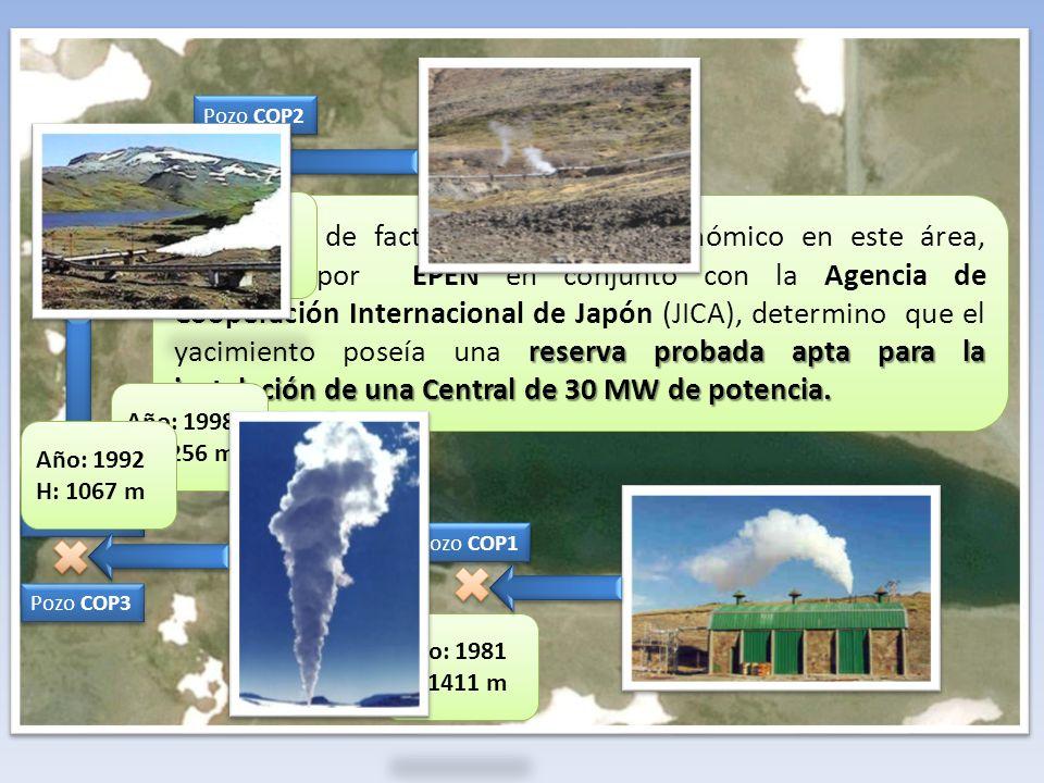 reserva probada apta para la instalación de una Central de 30 MW de potencia. El estudio de factibilidad técnico económico en este área, realizado por
