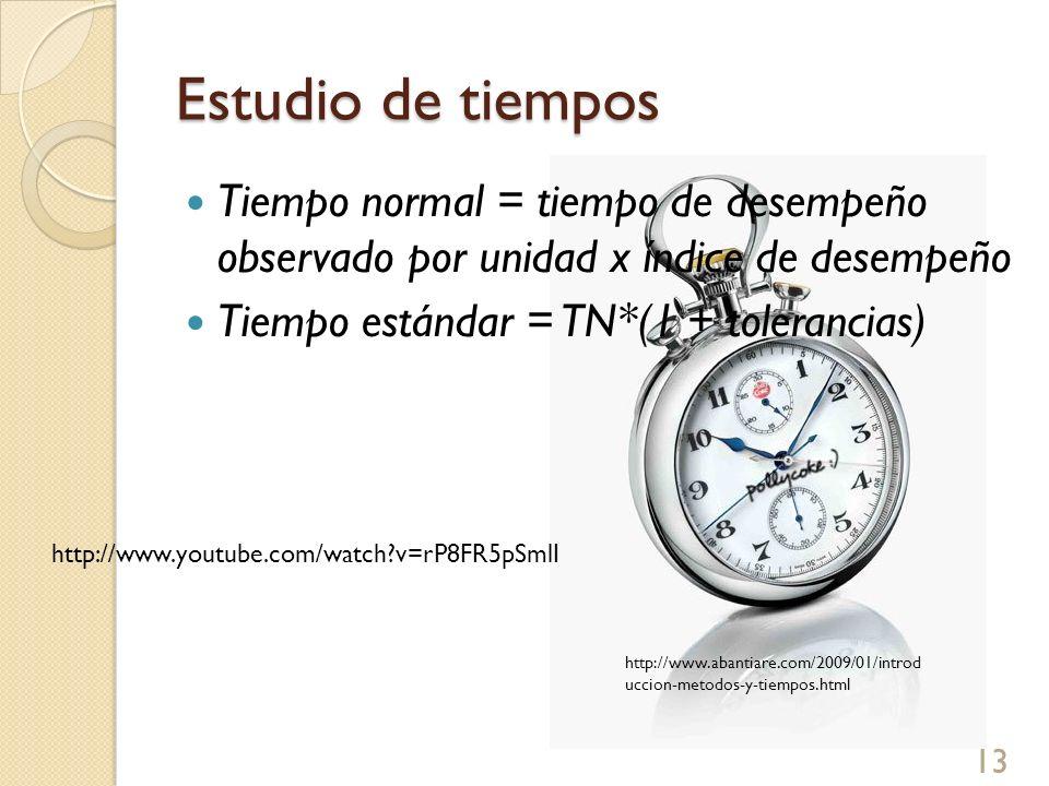 Estudio de tiempos Tiempo normal = tiempo de desempeño observado por unidad x índice de desempeño Tiempo estándar = TN*(1 + tolerancias) 13 http://www