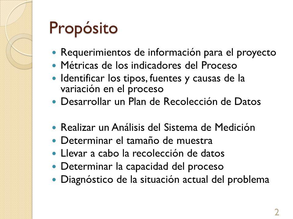 Propósito Requerimientos de información para el proyecto Métricas de los indicadores del Proceso Identificar los tipos, fuentes y causas de la variaci