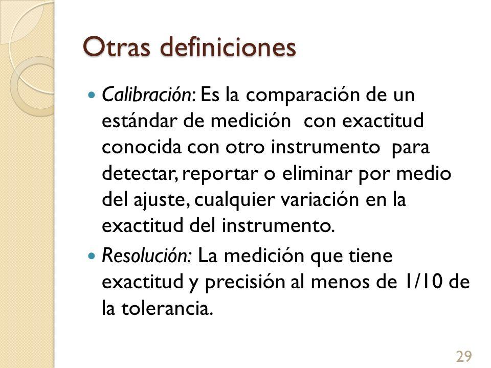 Otras definiciones Calibración: Es la comparación de un estándar de medición con exactitud conocida con otro instrumento para detectar, reportar o eli