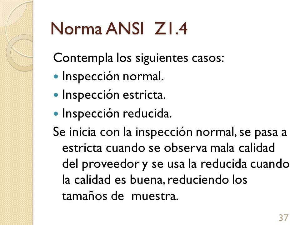 Norma ANSI Z1.4 Contempla los siguientes casos: Inspección normal. Inspección estricta. Inspección reducida. Se inicia con la inspección normal, se pa