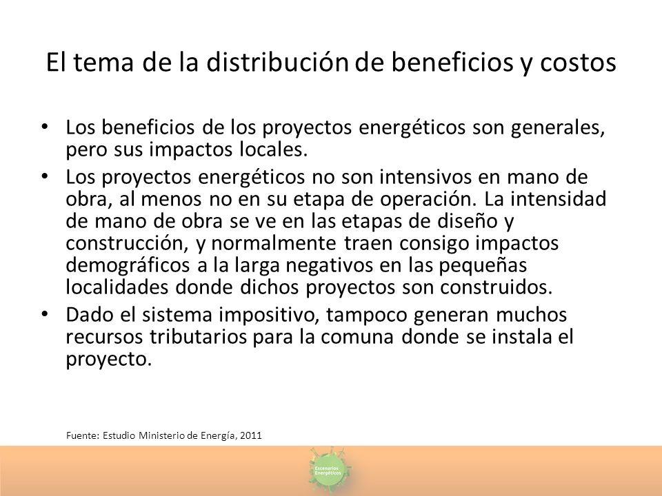 El tema de la distribución de beneficios y costos Los beneficios de los proyectos energéticos son generales, pero sus impactos locales. Los proyectos