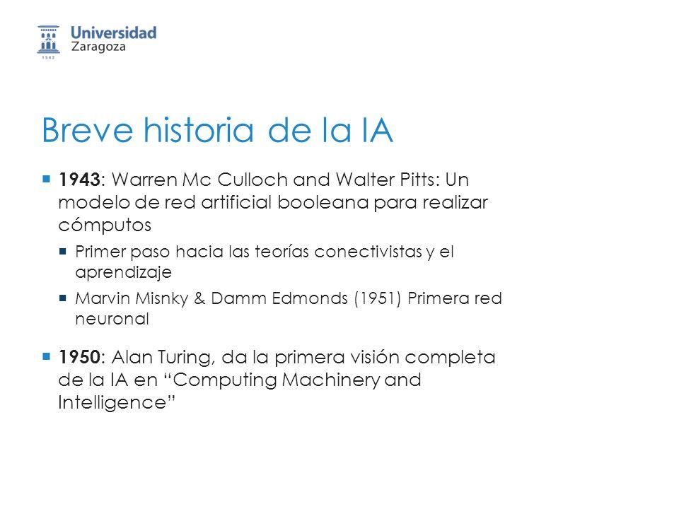 Breve historia de la IA 1943 : Warren Mc Culloch and Walter Pitts: Un modelo de red artificial booleana para realizar cómputos Primer paso hacia las teorías conectivistas y el aprendizaje Marvin Misnky & Damm Edmonds (1951) Primera red neuronal 1950 : Alan Turing, da la primera visión completa de la IA en Computing Machinery and Intelligence