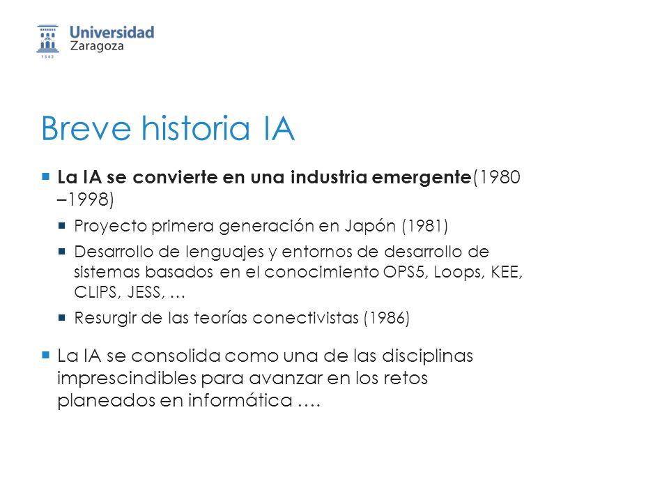 Breve historia IA La IA se convierte en una industria emergente (1980 –1998) Proyecto primera generación en Japón (1981) Desarrollo de lenguajes y ent