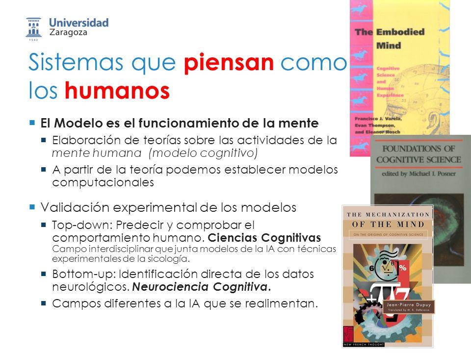 Sistemas que piensan como los humanos El Modelo es el funcionamiento de la mente Elaboración de teorías sobre las actividades de la mente humana (modelo cognitivo) A partir de la teoría podemos establecer modelos computacionales Validación experimental de los modelos Top-down: Predecir y comprobar el comportamiento humano.