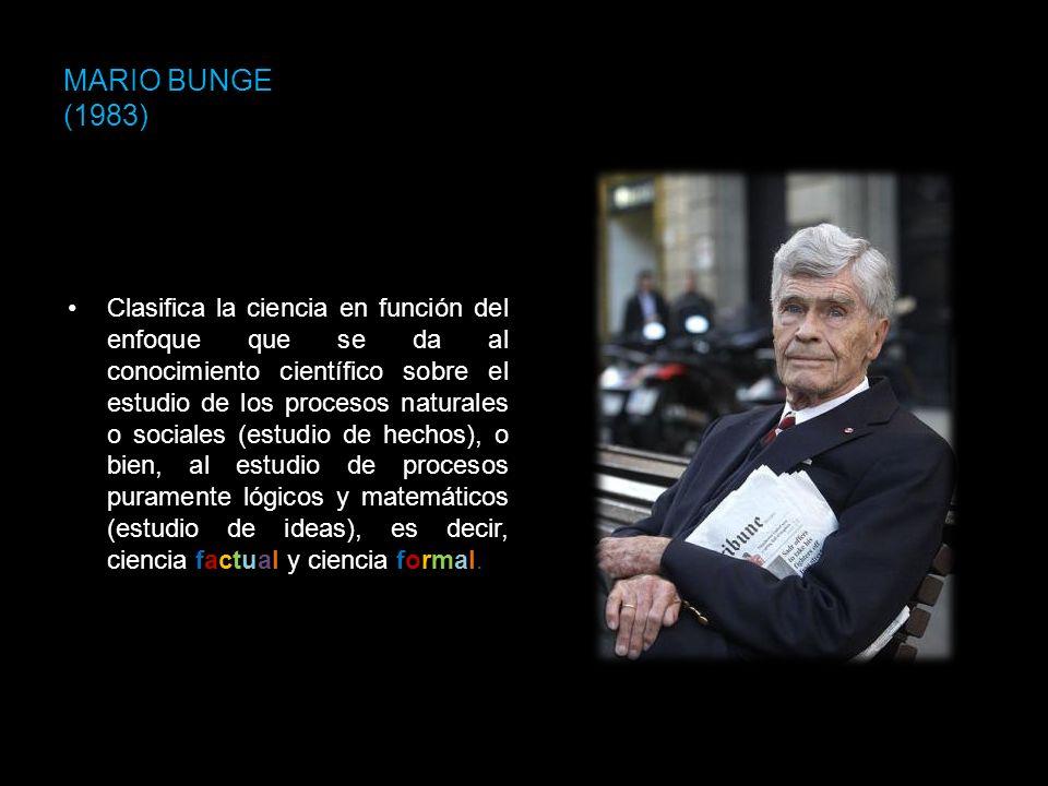 MARIO BUNGE (1983) Clasifica la ciencia en función del enfoque que se da al conocimiento científico sobre el estudio de los procesos naturales o socia