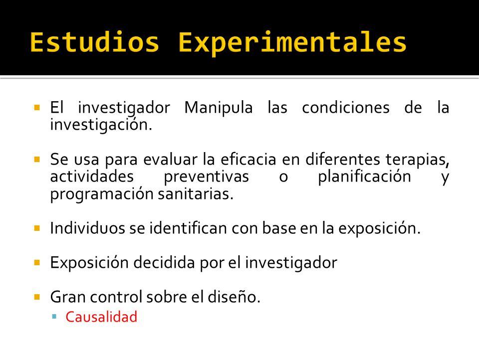 El investigador Manipula las condiciones de la investigación. Se usa para evaluar la eficacia en diferentes terapias, actividades preventivas o planif
