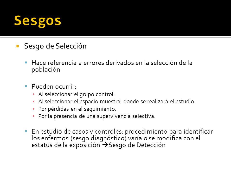 Sesgo de Selección Hace referencia a errores derivados en la selección de la población Pueden ocurrir: Al seleccionar el grupo control. Al seleccionar