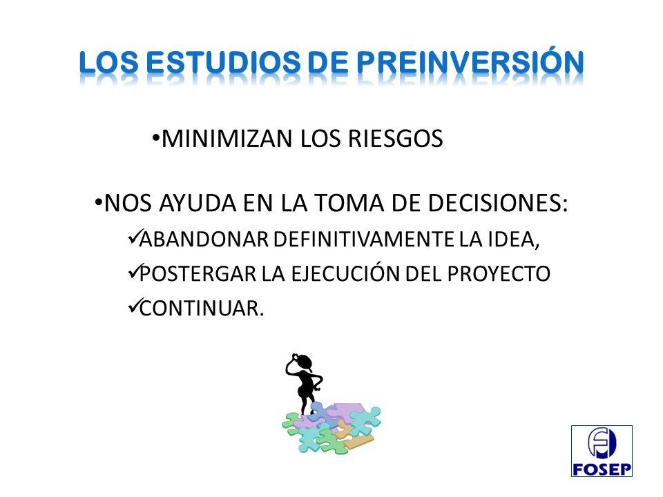 MINIMIZAN LOS RIESGOS NOS AYUDA EN LA TOMA DE DECISIONES: ABANDONAR DEFINITIVAMENTE LA IDEA, POSTERGAR LA EJECUCIÓN DEL PROYECTO CONTINUAR.