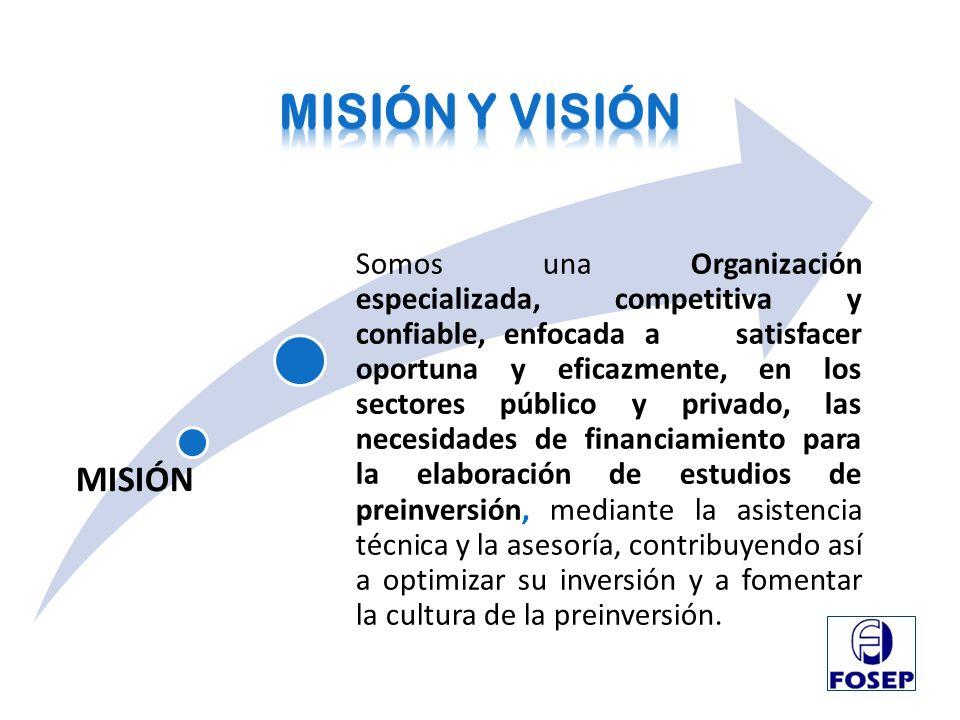 VISIÓN Ser reconocidos a nivel nacional como la mejor opción en asesoría y el financiamiento de la preinversión.