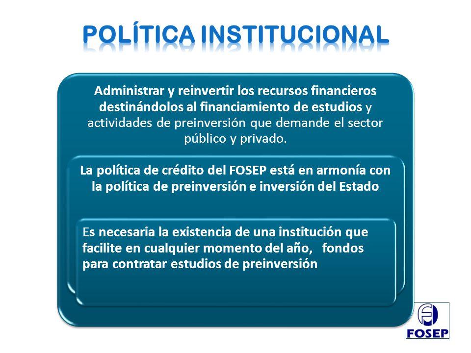 Administrar y reinvertir los recursos financieros destinándolos al financiamiento de estudios y actividades de preinversión que demande el sector públ