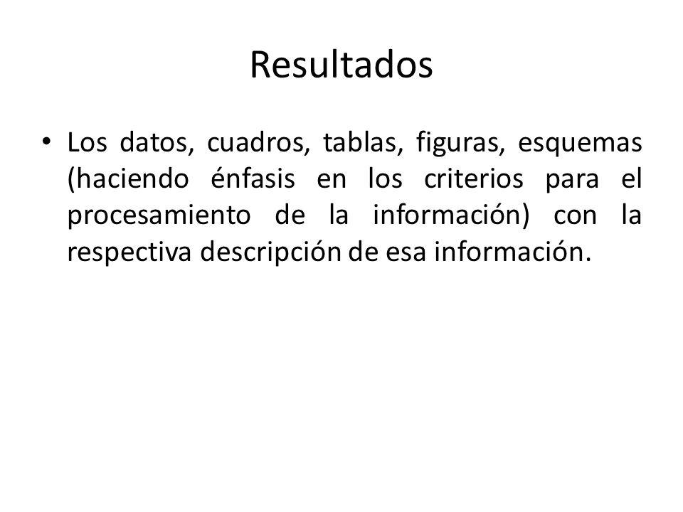 Resultados Los datos, cuadros, tablas, figuras, esquemas (haciendo énfasis en los criterios para el procesamiento de la información) con la respectiva