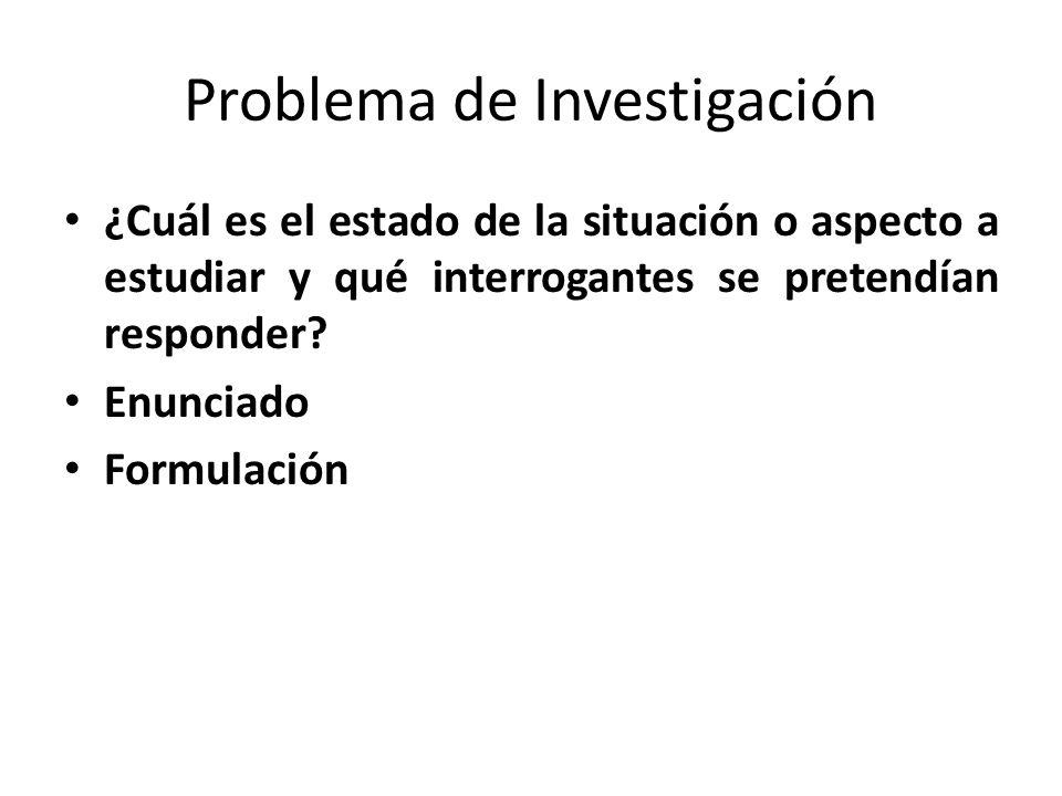 Problema de Investigación ¿Cuál es el estado de la situación o aspecto a estudiar y qué interrogantes se pretendían responder? Enunciado Formulación