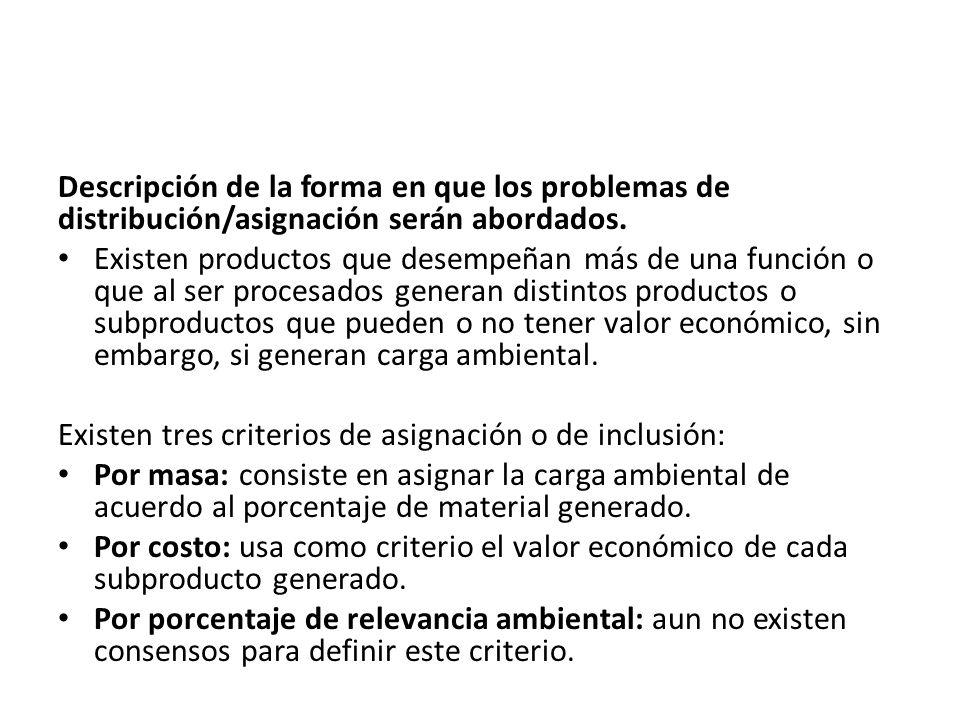 Descripción de la forma en que los problemas de distribución/asignación serán abordados. Existen productos que desempeñan más de una función o que al