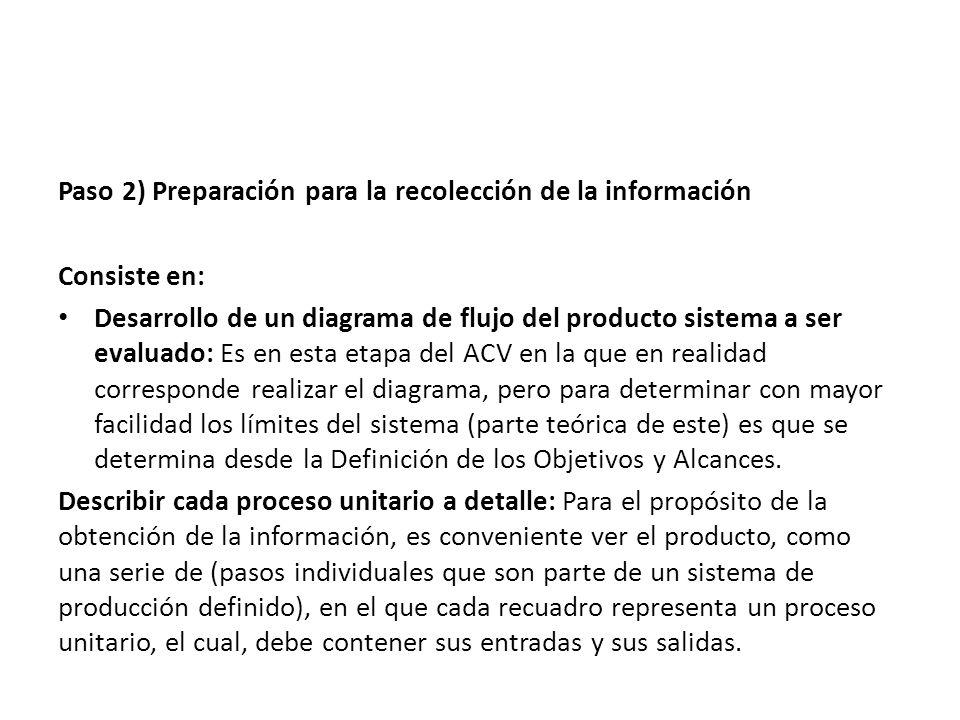 Paso 2) Preparación para la recolección de la información Consiste en: Desarrollo de un diagrama de flujo del producto sistema a ser evaluado: Es en e