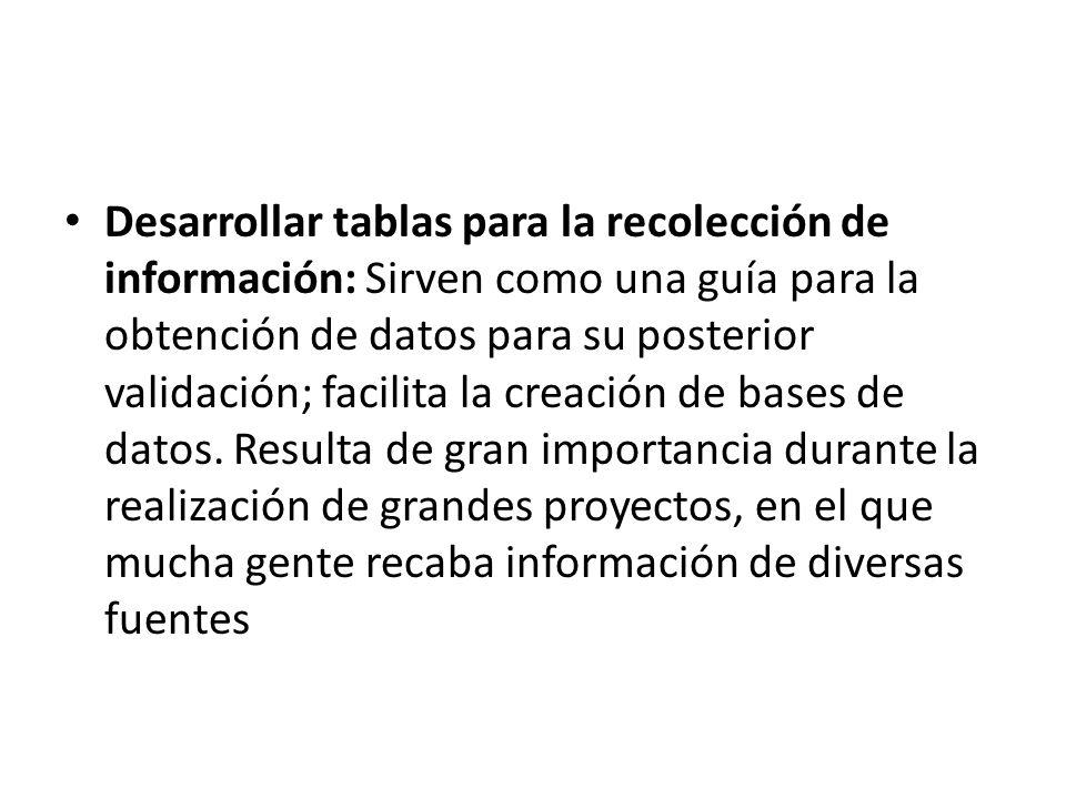 Desarrollar tablas para la recolección de información: Sirven como una guía para la obtención de datos para su posterior validación; facilita la creac