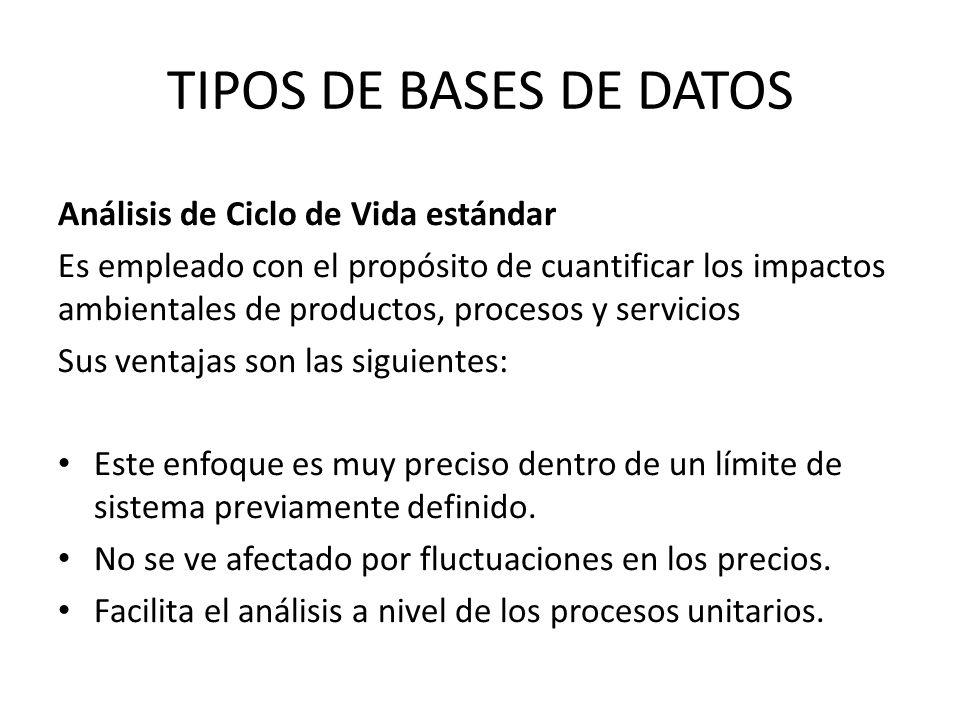 TIPOS DE BASES DE DATOS Análisis de Ciclo de Vida estándar Es empleado con el propósito de cuantificar los impactos ambientales de productos, procesos