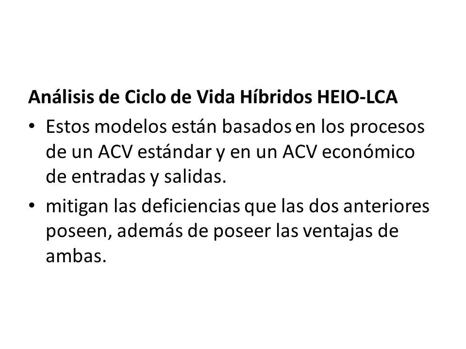 Análisis de Ciclo de Vida Híbridos HEIO-LCA Estos modelos están basados en los procesos de un ACV estándar y en un ACV económico de entradas y salidas