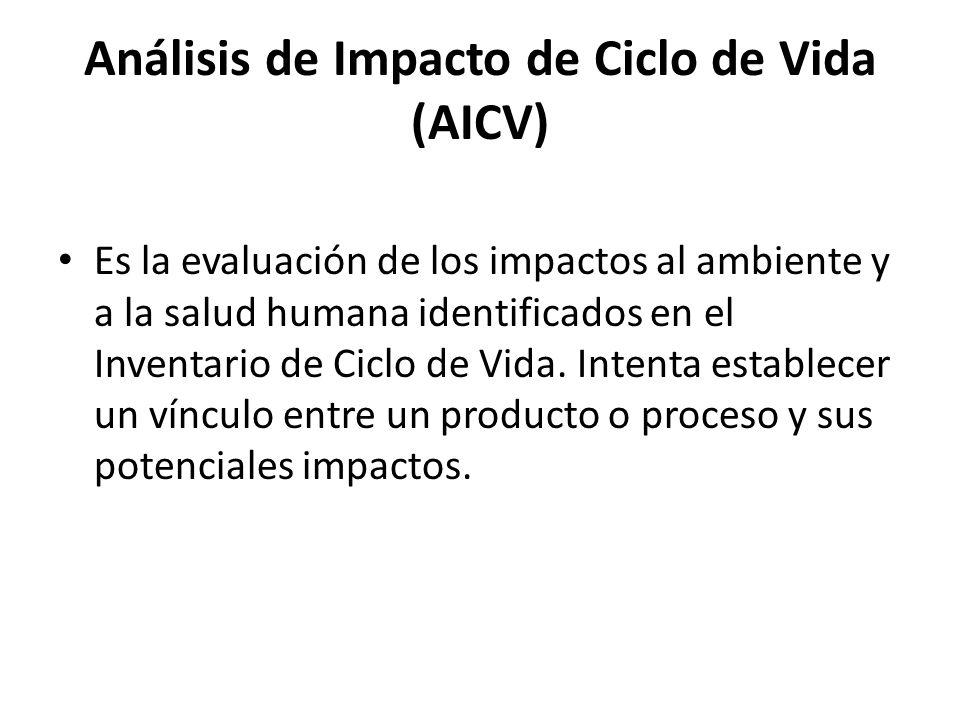 Análisis de Impacto de Ciclo de Vida (AICV) Es la evaluación de los impactos al ambiente y a la salud humana identificados en el Inventario de Ciclo de Vida.