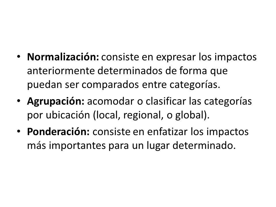 Normalización: consiste en expresar los impactos anteriormente determinados de forma que puedan ser comparados entre categorías. Agrupación: acomodar