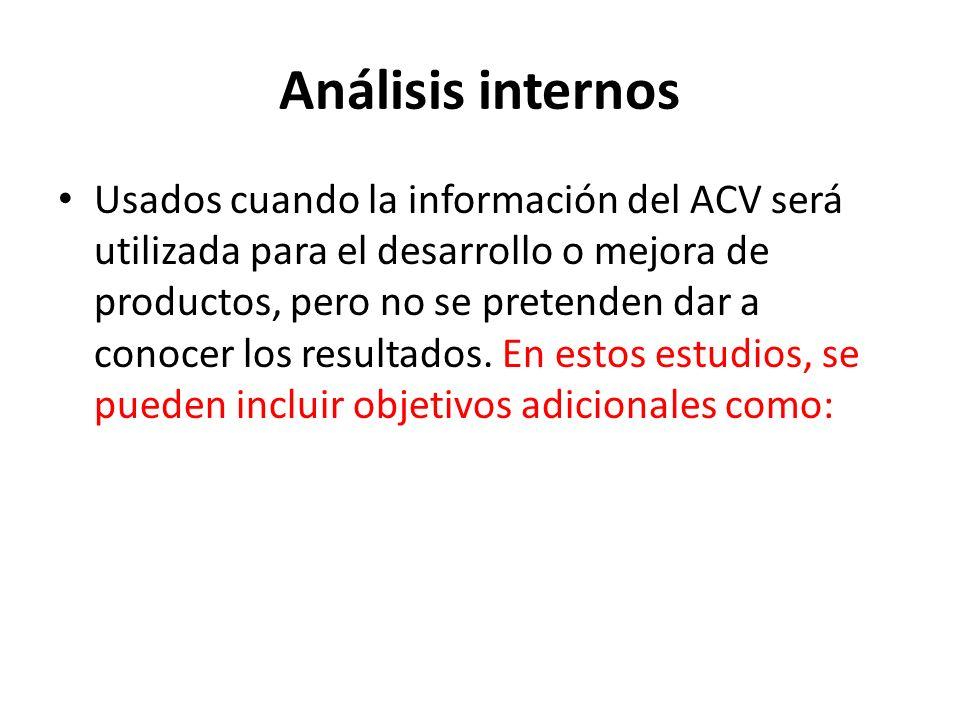 Análisis internos Usados cuando la información del ACV será utilizada para el desarrollo o mejora de productos, pero no se pretenden dar a conocer los resultados.
