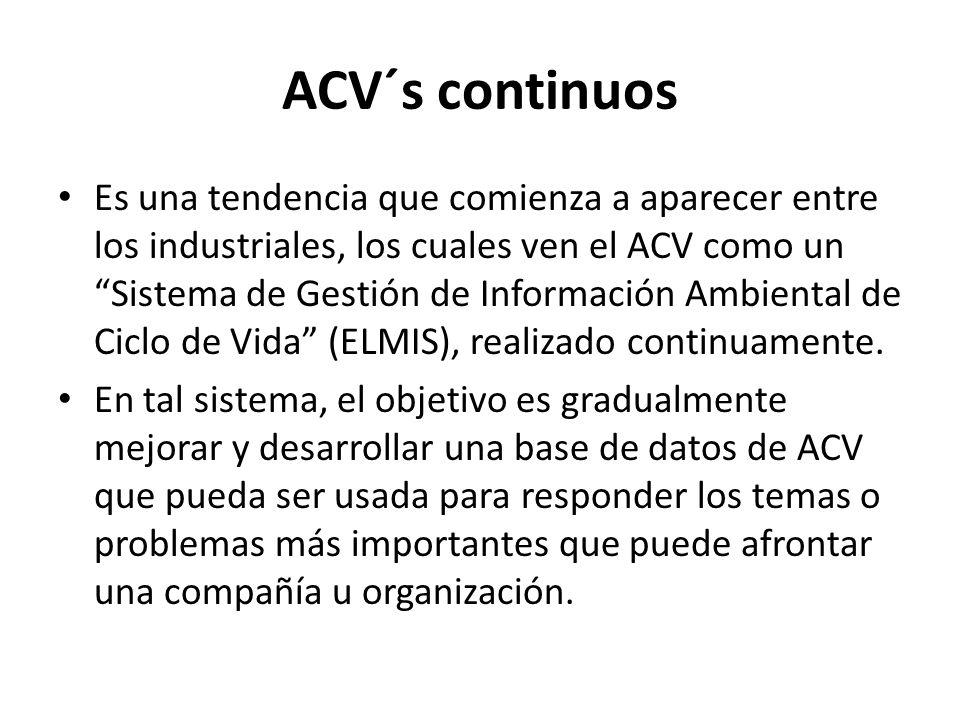 ACV´s continuos Es una tendencia que comienza a aparecer entre los industriales, los cuales ven el ACV como un Sistema de Gestión de Información Ambiental de Ciclo de Vida (ELMIS), realizado continuamente.