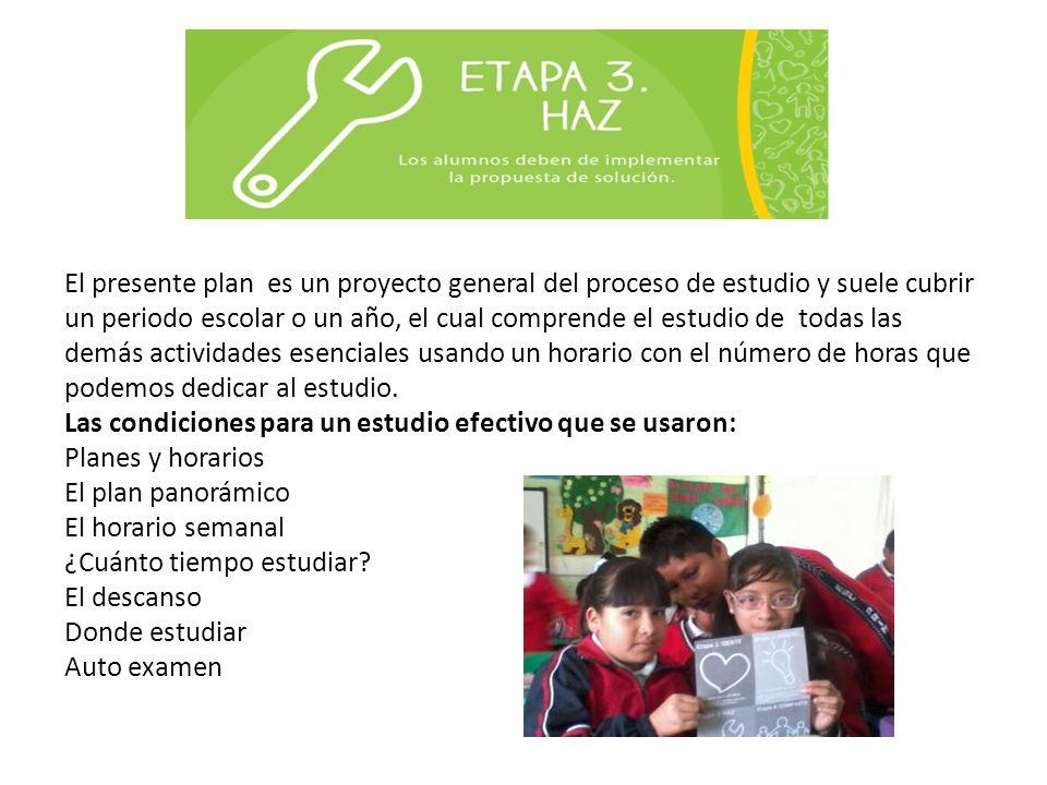 El presente plan es un proyecto general del proceso de estudio y suele cubrir un periodo escolar o un año, el cual comprende el estudio de todas las d