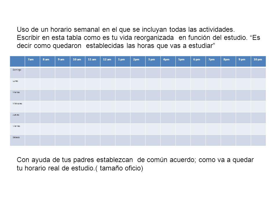 Uso de un horario semanal en el que se incluyan todas las actividades. Escribir en esta tabla como es tu vida reorganizada en función del estudio. Es