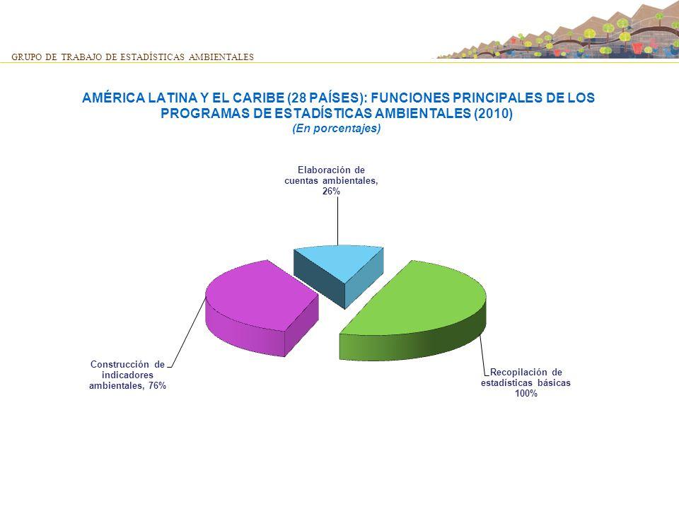 AMÉRICA LATINA Y EL CARIBE (28 PAÍSES): FUNCIONES PRINCIPALES DE LOS PROGRAMAS DE ESTADÍSTICAS AMBIENTALES (2010) (En porcentajes) GRUPO DE TRABAJO DE