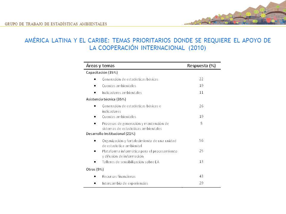 AMÉRICA LATINA Y EL CARIBE: TEMAS PRIORITARIOS DONDE SE REQUIERE EL APOYO DE LA COOPERACIÓN INTERNACIONAL (2010) GRUPO DE TRABAJO DE ESTADÍSTICAS AMBI