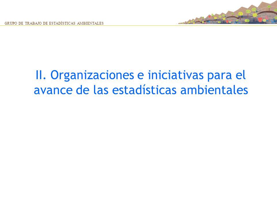 II. Organizaciones e iniciativas para el avance de las estadísticas ambientales GRUPO DE TRABAJO DE ESTADÍSTICAS AMBIENTALES