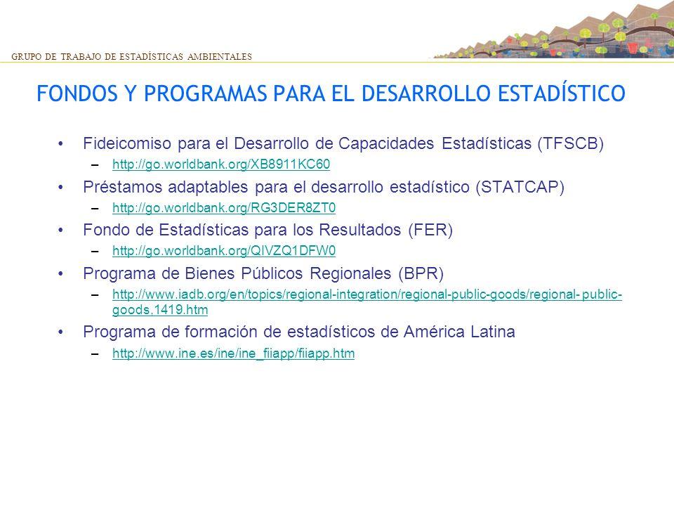 FONDOS Y PROGRAMAS PARA EL DESARROLLO ESTADÍSTICO Fideicomiso para el Desarrollo de Capacidades Estadísticas (TFSCB) –http://go.worldbank.org/XB8911KC