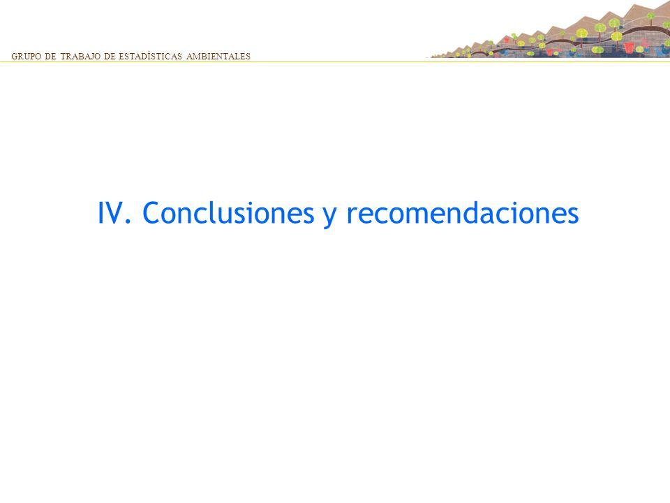 IV. Conclusiones y recomendaciones GRUPO DE TRABAJO DE ESTADÍSTICAS AMBIENTALES