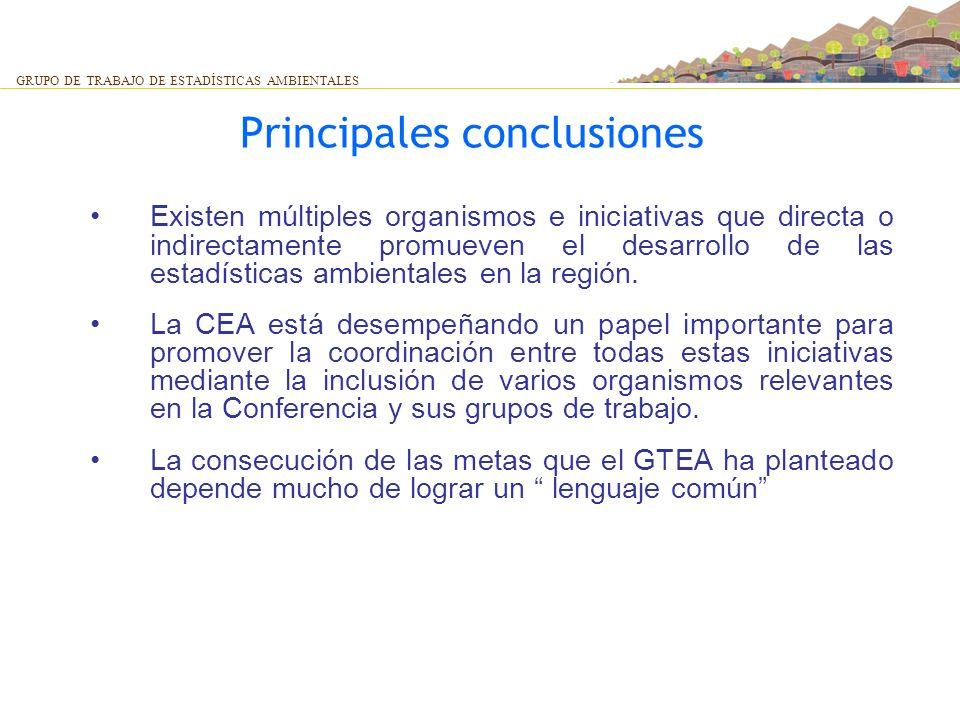 Principales conclusiones Existen múltiples organismos e iniciativas que directa o indirectamente promueven el desarrollo de las estadísticas ambiental