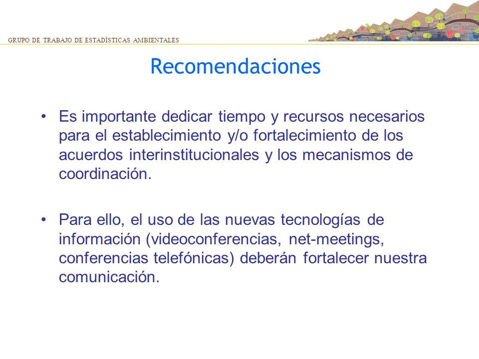 Recomendaciones Es importante dedicar tiempo y recursos necesarios para el establecimiento y/o fortalecimiento de los acuerdos interinstitucionales y