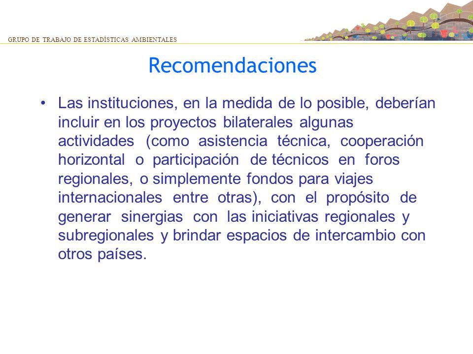 Recomendaciones Las instituciones, en la medida de lo posible, deberían incluir en los proyectos bilaterales algunas actividades (como asistencia técn
