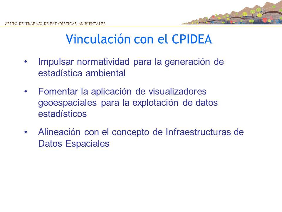 Vinculación con el CPIDEA GRUPO DE TRABAJO DE ESTADÍSTICAS AMBIENTALES Impulsar normatividad para la generación de estadística ambiental Fomentar la a