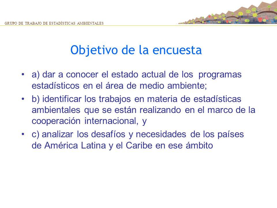 Objetivo de la encuesta a) dar a conocer el estado actual de los programas estadísticos en el área de medio ambiente; b) identificar los trabajos en m