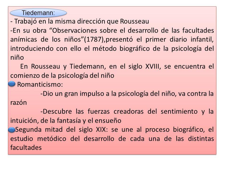 - Trabajó en la misma dirección que Rousseau -En su obra Observaciones sobre el desarrollo de las facultades anímicas de los niños(1787),presentó el primer diario infantil, introduciendo con ello el método biográfico de la psicología del niño En Rousseau y Tiedemann, en el siglo XVIII, se encuentra el comienzo de la psicología del niño Romanticismo: -Dio un gran impulso a la psicología del niño, va contra la razón -Descubre las fuerzas creadoras del sentimiento y la intuición, de la fantasía y el ensueño Segunda mitad del siglo XIX: se une al proceso biográfico, el estudio metódico del desarrollo de cada una de las distintas facultades - Trabajó en la misma dirección que Rousseau -En su obra Observaciones sobre el desarrollo de las facultades anímicas de los niños(1787),presentó el primer diario infantil, introduciendo con ello el método biográfico de la psicología del niño En Rousseau y Tiedemann, en el siglo XVIII, se encuentra el comienzo de la psicología del niño Romanticismo: -Dio un gran impulso a la psicología del niño, va contra la razón -Descubre las fuerzas creadoras del sentimiento y la intuición, de la fantasía y el ensueño Segunda mitad del siglo XIX: se une al proceso biográfico, el estudio metódico del desarrollo de cada una de las distintas facultades Tiedemann: