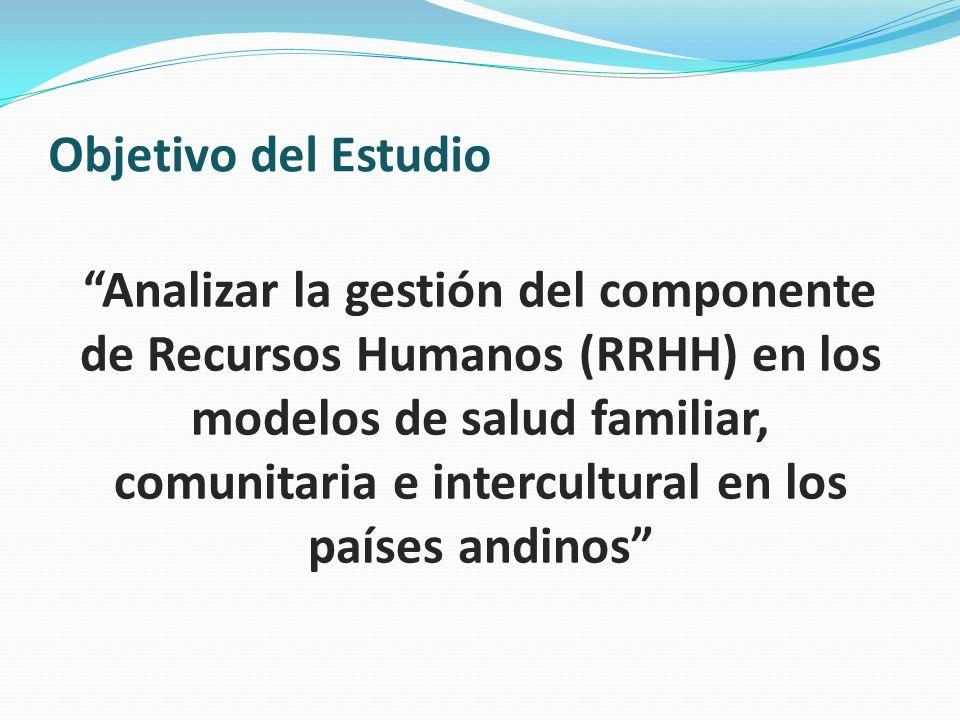 Objetivo del Estudio Analizar la gestión del componente de Recursos Humanos (RRHH) en los modelos de salud familiar, comunitaria e intercultural en lo
