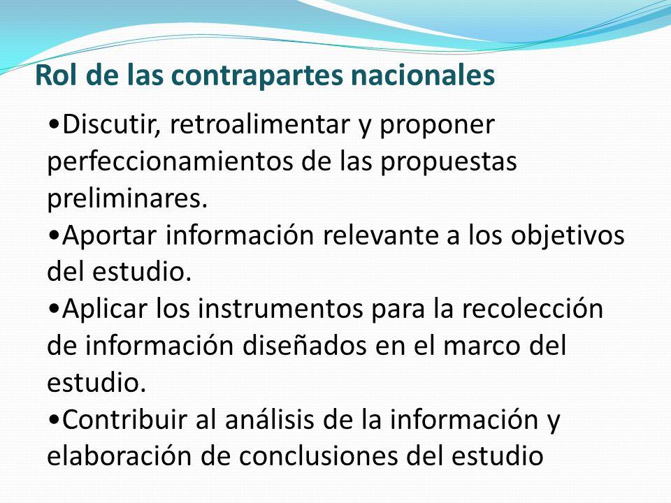 Rol de las contrapartes nacionales Discutir, retroalimentar y proponer perfeccionamientos de las propuestas preliminares. Aportar información relevant