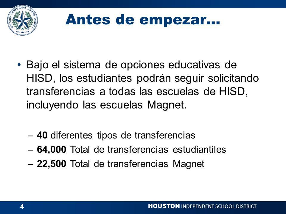 HOUSTON INDEPENDENT SCHOOL DISTRICT 15 Programas Magnet de Tecnología Escuelas Secundarias