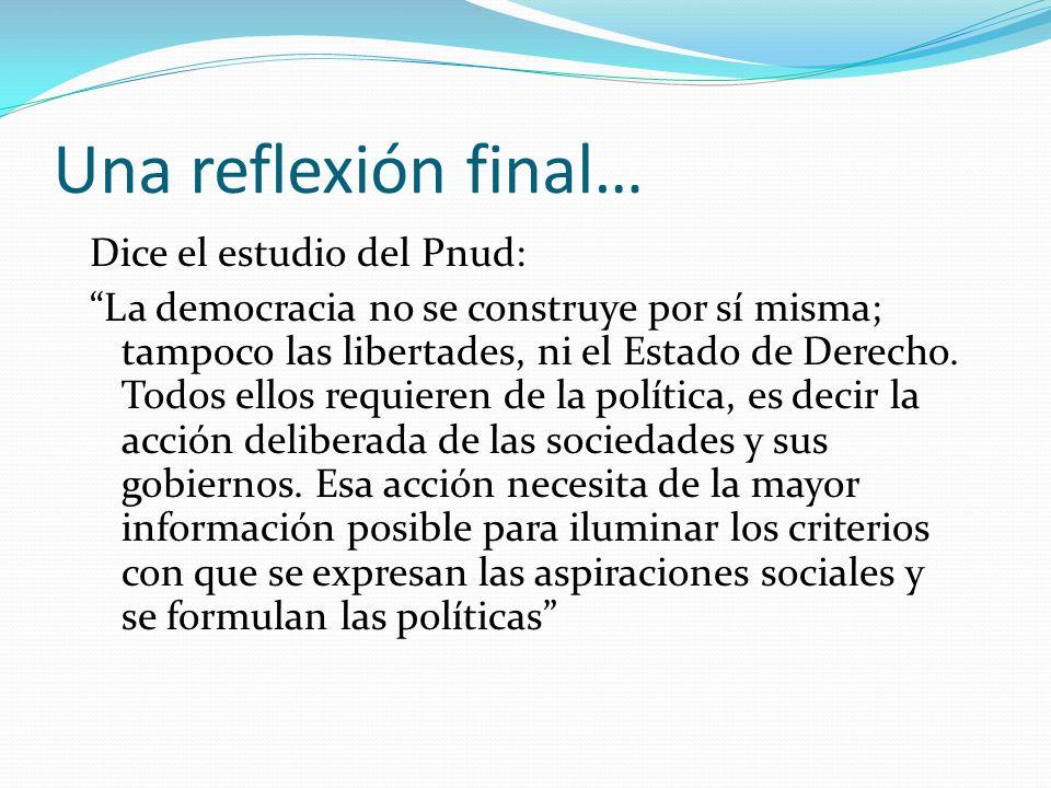 Una reflexión final… Dice el estudio del Pnud: La democracia no se construye por sí misma; tampoco las libertades, ni el Estado de Derecho.