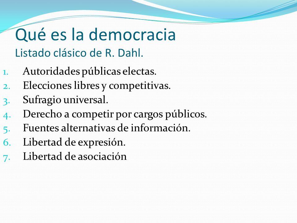 Qué es la democracia Listado clásico de R.Dahl. 1.