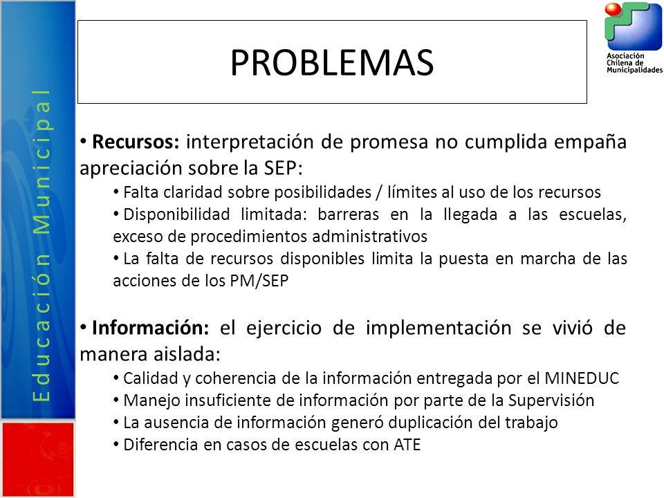 PROBLEMAS Recursos: interpretación de promesa no cumplida empaña apreciación sobre la SEP: Falta claridad sobre posibilidades / límites al uso de los