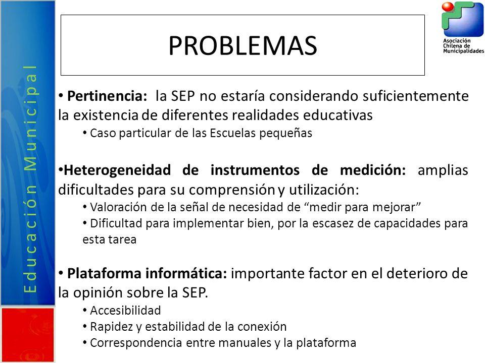 PROBLEMAS Pertinencia: la SEP no estaría considerando suficientemente la existencia de diferentes realidades educativas Caso particular de las Escuela