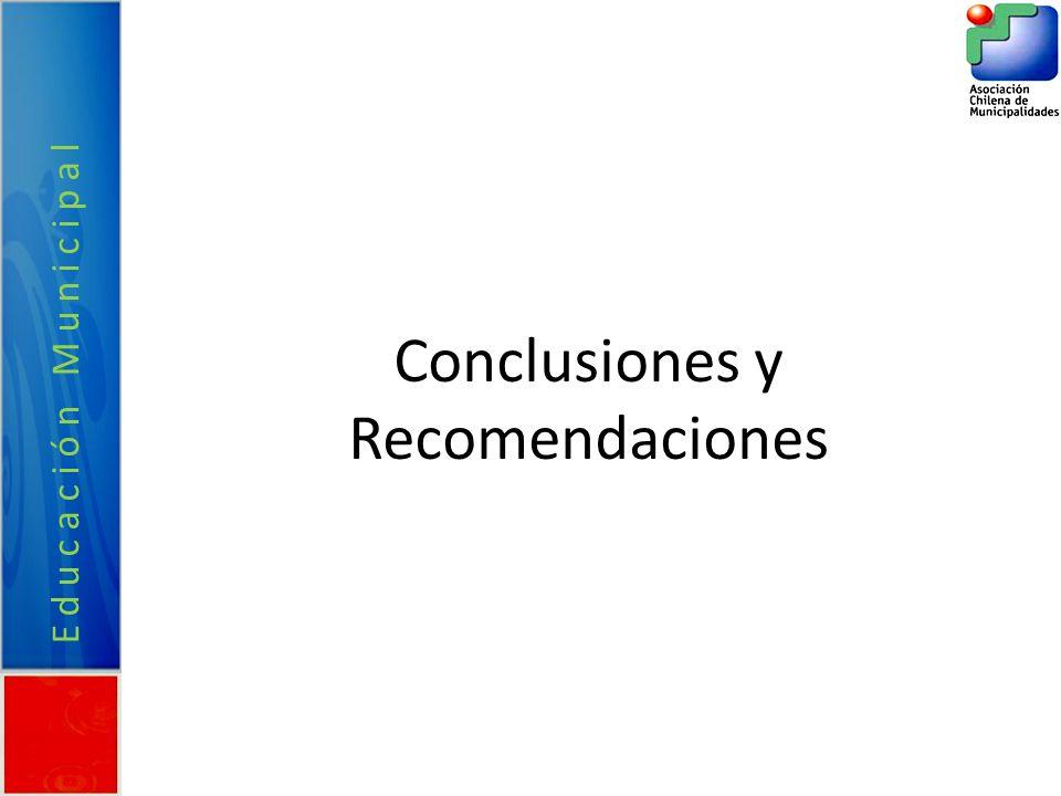 Conclusiones y Recomendaciones Educación Municipal