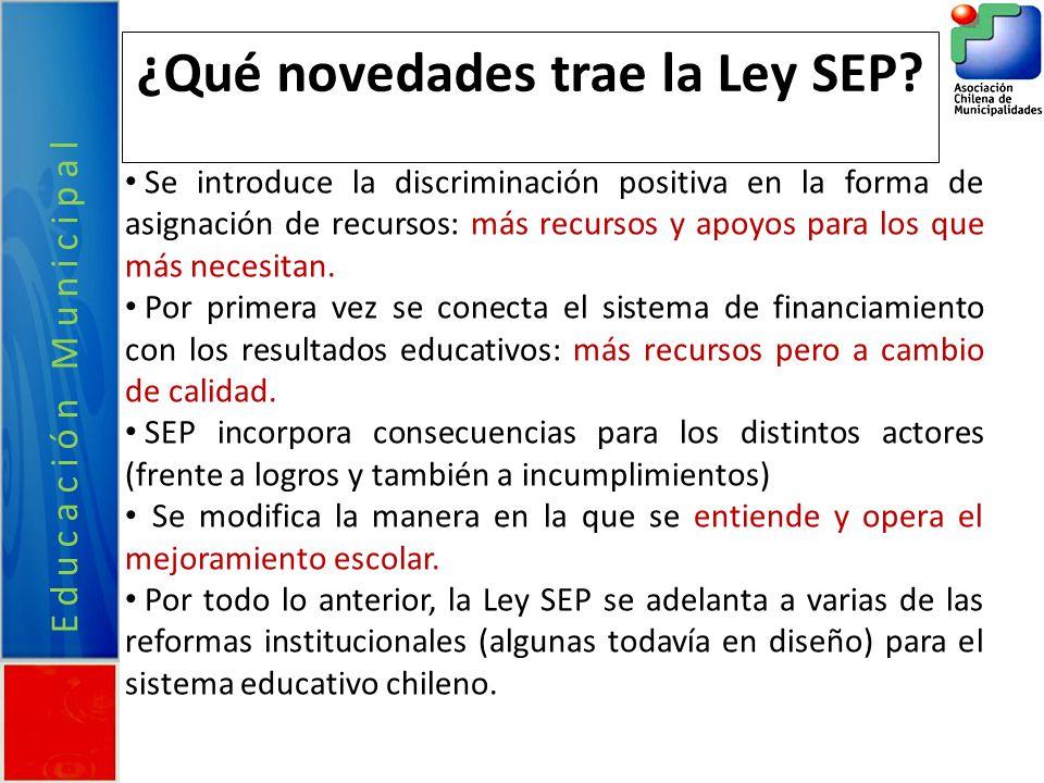 Educación Municipal ¿Qué novedades trae la Ley SEP? Se introduce la discriminación positiva en la forma de asignación de recursos: más recursos y apoy