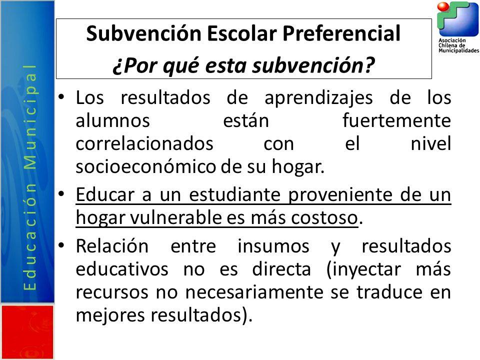 Educación Municipal Subvención Escolar Preferencial ¿Por qué esta subvención? Los resultados de aprendizajes de los alumnos están fuertemente correlac